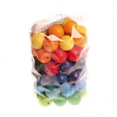 60 perles en bois colorées