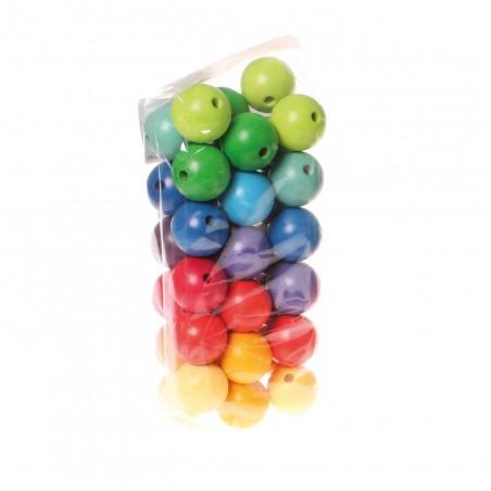 36 perles large en bois colorées