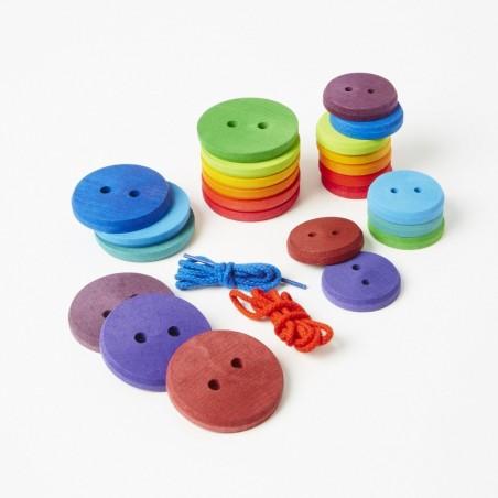 24 boutons bois