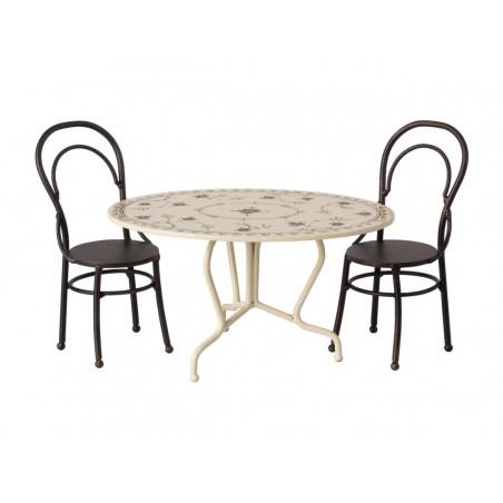 Set table et chaises anthracite pour souris