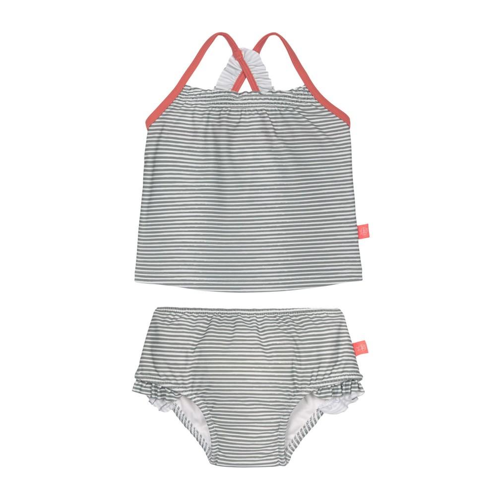 Tankini - Maillot de bain filles, Rayures corail
