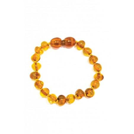 Bracelet d'ambre perles rondes miel
